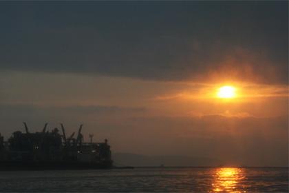 福岡の夕日